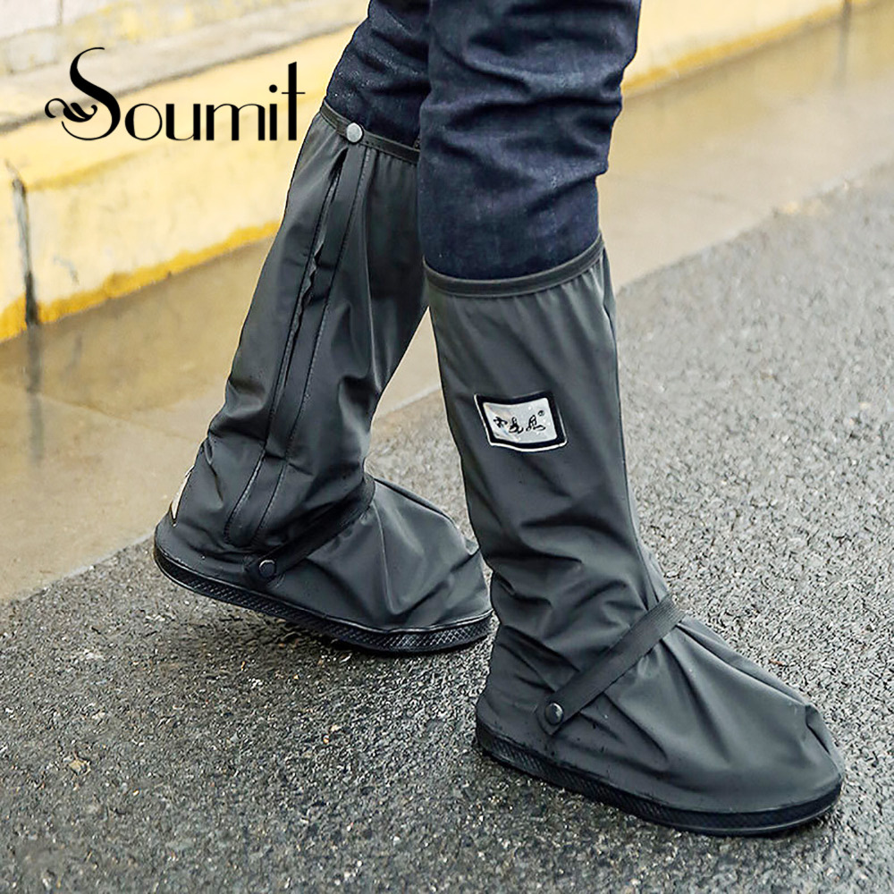 Soumit ciclismo zapatos cubierta impermeable a prueba de viento a prueba de lluvia botas negro reutilizable cubiertas de zapatos para hombres y mujeres bicicleta cubrezapatos bota zapato