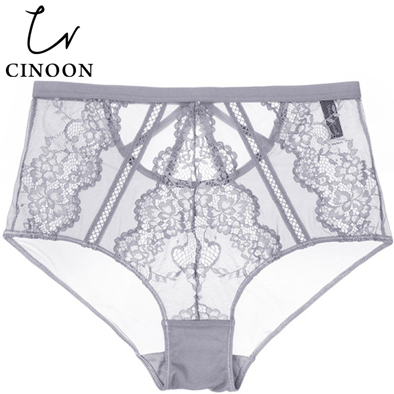 CINOON Lace Briefs High Waist   Panties   Elasticity Lingerie Sexy Underwear Transparent Thong Comfortable Woman Pants Hollow Brief