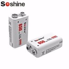цена на Soshine 6F22 2Pcs 9V 650mAh Li-ion Lithium Power Battery Chemistry Rechargeable Battery For Electronic Instruments