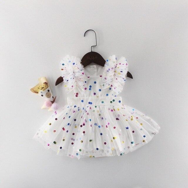도매 2019 여름 새 아기 소녀 공주 드레스 반짝이 화려한 폴카 도트 Guze 드레스 오버올 어린이 의류 E81016