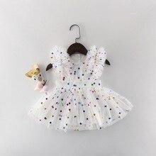 Оптовая продажа, Новинка лета 2019, платье принцессы для маленьких девочек, блестящее разноцветное платье в горошек, комбинезоны, детская одежда E81016