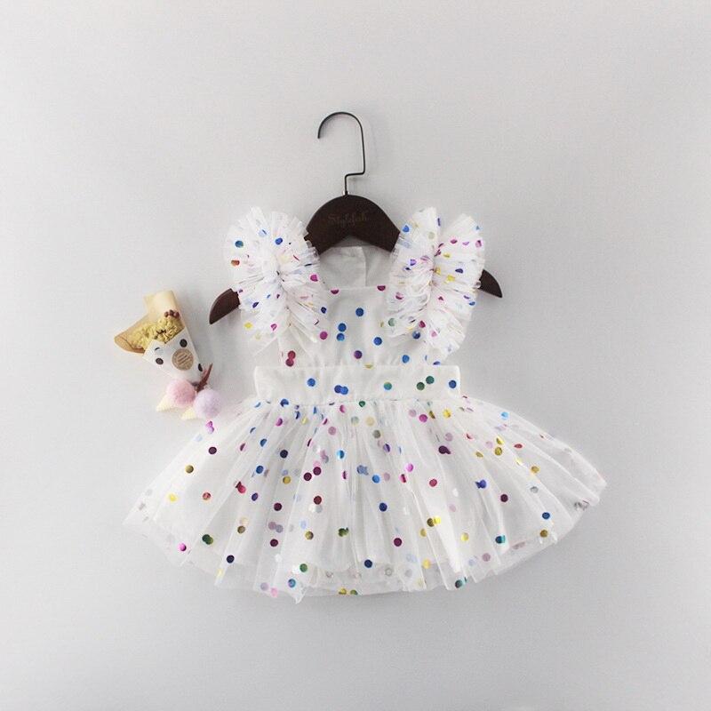 Wholesale 2019 Summer New Baby Girl Princess Dress Glitter  Colorful Polka Dot Guze Dress Overalls Kids Clothing E81016Dresses   -