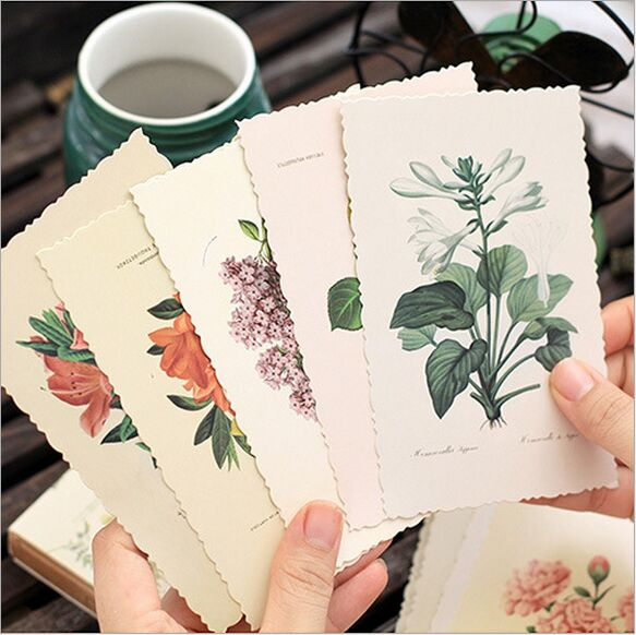 30Pcs/Pack Retro Season Plants Romantic Flowers Swatch Postcard DIY Envelope Gift Card Mini Message Card  Film Paper Bookmark