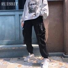 2018 nuevo Otoño Invierno mujer Harajuku Punk hiphop Streetwear Cargo  pantalones Joggers negro Bolsillo Harem Pantalones mujer P f90aeb74dfc