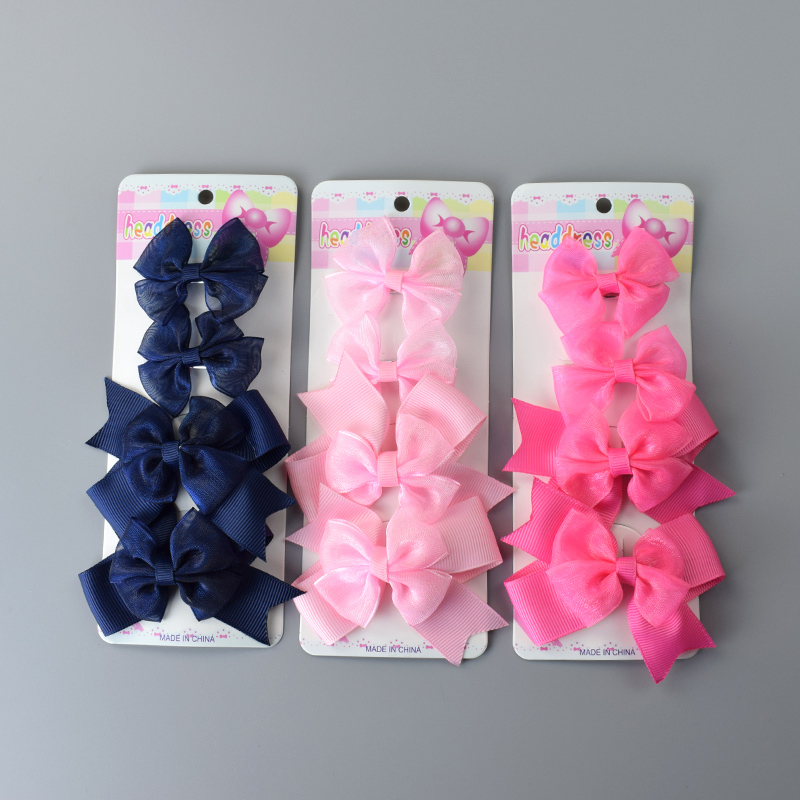 4 Pcs/lot Bowknot Hairpins Kids Girls Hair Clips Pin Bows Headwear For Children Hair Ornaments Hairclip Headdress Accessories butterfly shell pearl camellia hairpins new retro edge hair clips hair ornaments headdress girls hair accessories for women 1pcs