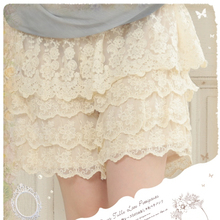 Mori Girls Creamy White Multi Layered Lace Sweet Lolita Safety Short Pants