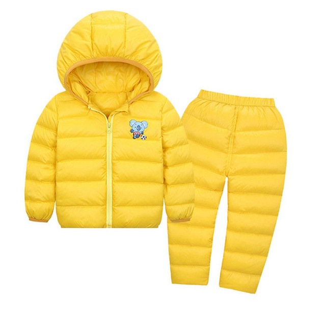 Kids Snowsuits Autumn Winter Down Jackets Pant For Girls Boys Children Clothes Set Toddler Hooded Outerwear Stripe Overalls 2pcs