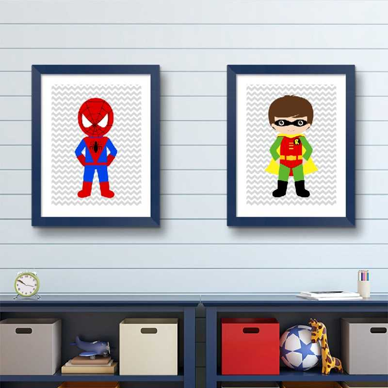 Superhero Wall Art Canvas Print and Poster Boys Bedroom Decor , Superhero  Nursery Decor Canvas Painting Wall Picture Baby Boy
