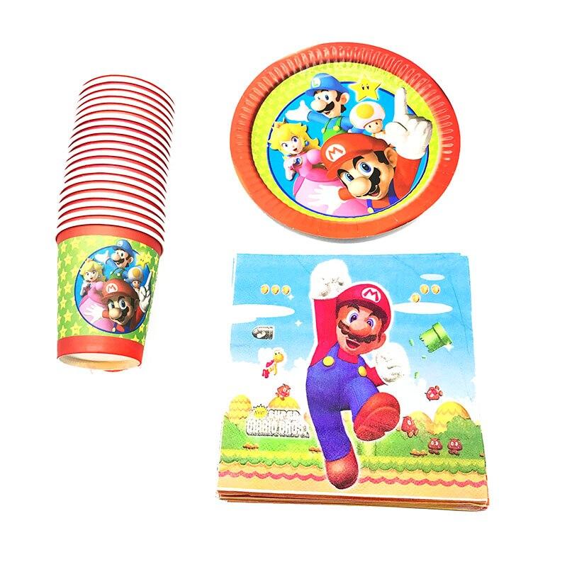 US $16 36  60pcs/lot Mario theme disposable party set Super Mario theme  birthday party decorations Mario Bros disposable plates cups napkin-in