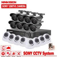 Главная видеонаблюдения 16CH камера видеорегистратор видео системы шт. 16 шт. sony 1200TVL Открытый Всепогодный мм 3,6 мм камера наблюдения комплект