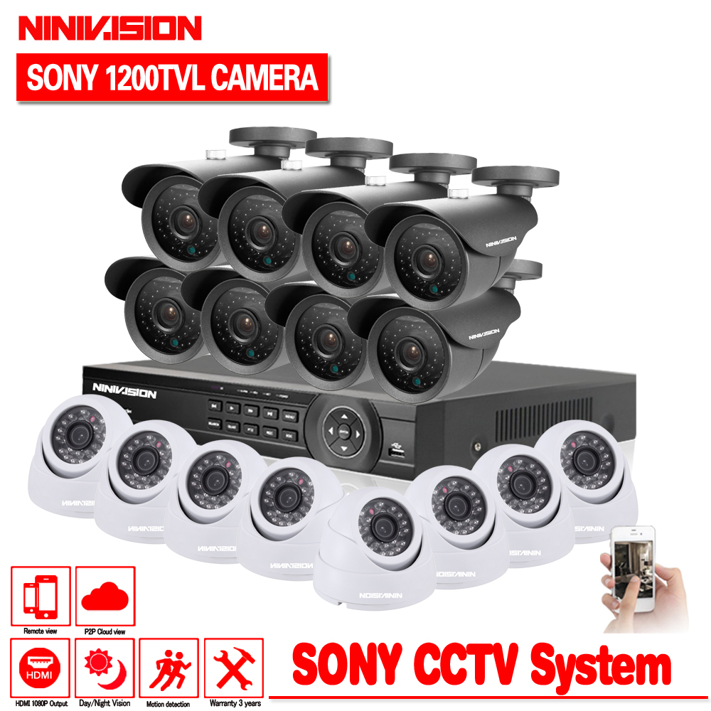 Home CCTV Security 16CH DVR Camera Video system 16pcs Sony 1200TVL Outdoor Weatherproof 3.6mm camera surveillance Kit 16 channel home cctv surveillance system 16 channel dvr recording with 16pcs 700tvl dome security camera system cctv dvr kit 16ch ck 206