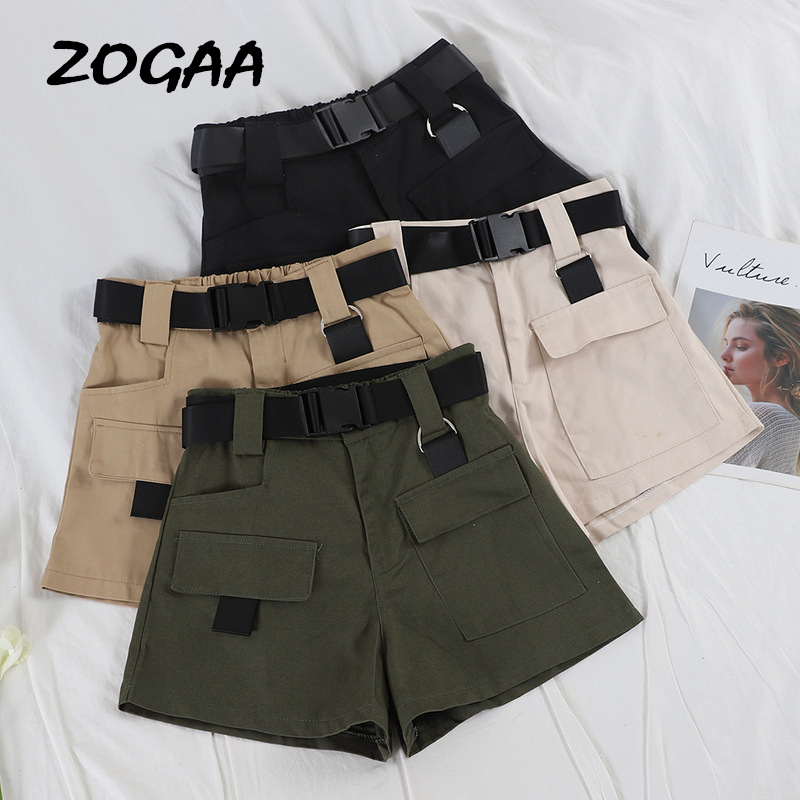 ZOGAA 2019 Elastic High Waist Shorts Women Black Summer Belt Shorts Vintage Sexy Cotton Biker Pocket Shorts Feminino Plus Size