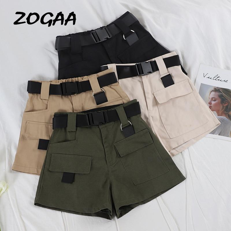 ZOGAA 2019 Elastic High Waist Shorts Women Black Summer Belt Shorts Vintage Sexy Cotton Biker Pocket Shorts Feminino Plus Size