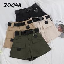 ZOGAA 2019 Elastic High Waist Shorts Women Black Summer Belt Vintage Sexy Cotton Biker Pocket Feminino Plus Size