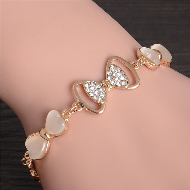 ZOSHI Gold Stellux Austrian Crystal Opal Beads Bow Style Charm Bracelets For Women Friendship Link Chain Bracelets Bangel 1