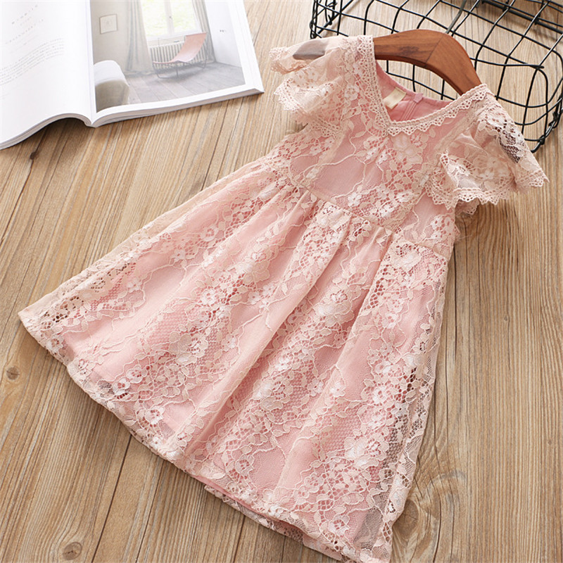 Hurave latest girls princess baby tulle clothes lace Children Clothes Summer ruffles sleeve pageant dress baby boutique dresses 2018 casual boho short sleeve maxi dress square neck floral printed ruffles dress loose flare sleeve a line ruffles dresses