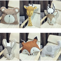 Cute Animals Fox Rabbit Bear Giraffe Deer Elephant Cushion Pillow Baby Calm Sleep Doll Nordic Style