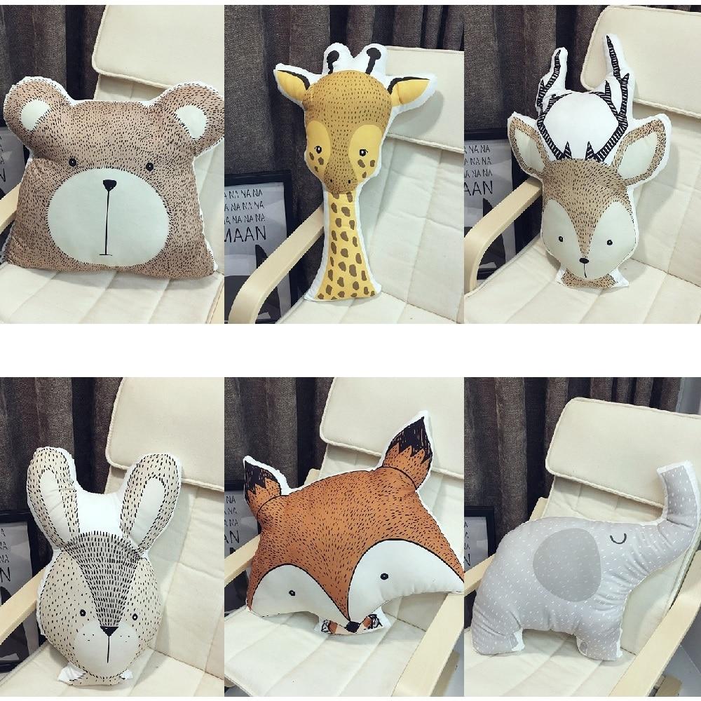 Cute Animals Fox Rabbit Bear Giraffe Deer Elephant Cushion Pillow Baby Calm Sleep Doll Nordic Style Bed Room Decor Toys For Kids