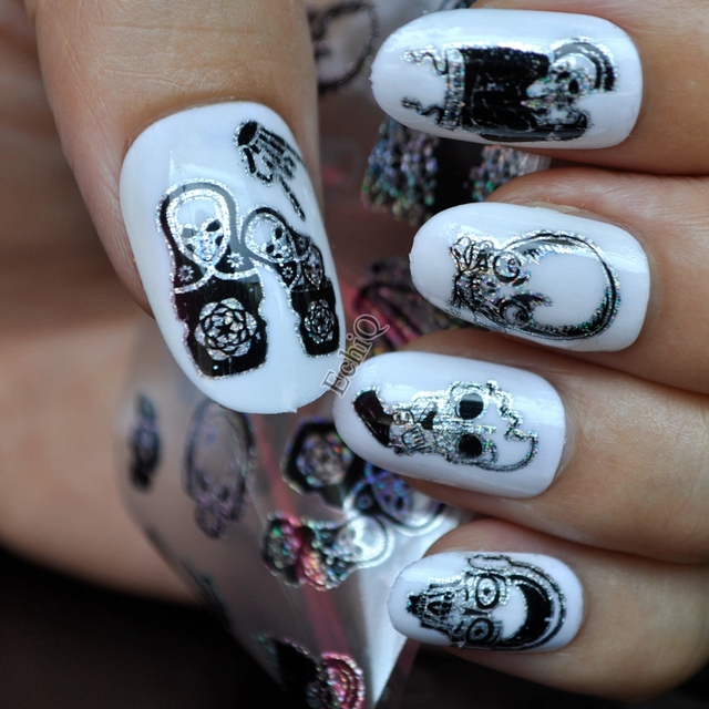 Halloween Design Zombie Skull Bone Nail Art Transfer Foils Stickers ...