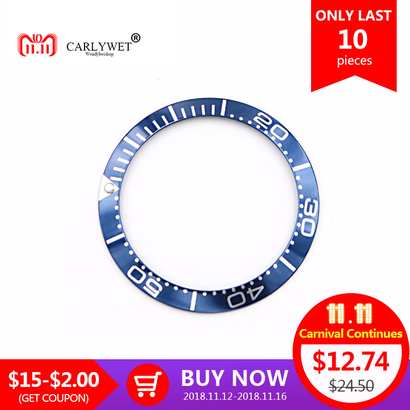 CARLYWET Wholesale High Quality Aluminum Dark blue with White Writing Watch Bezel Insert for Seamaster 2220