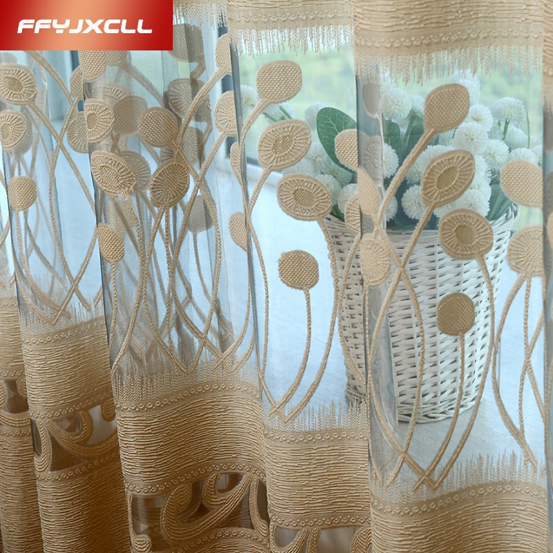 Tulle Curtains Drapes Sheer Voile Bedroom Living-Room Embroidered Kitchen Modern Custom