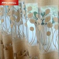 На заказ вышитые просвечивающие тюлевые шторы для гостиной оконные шторы для спальни кухня современные прозрачные вуали шторы