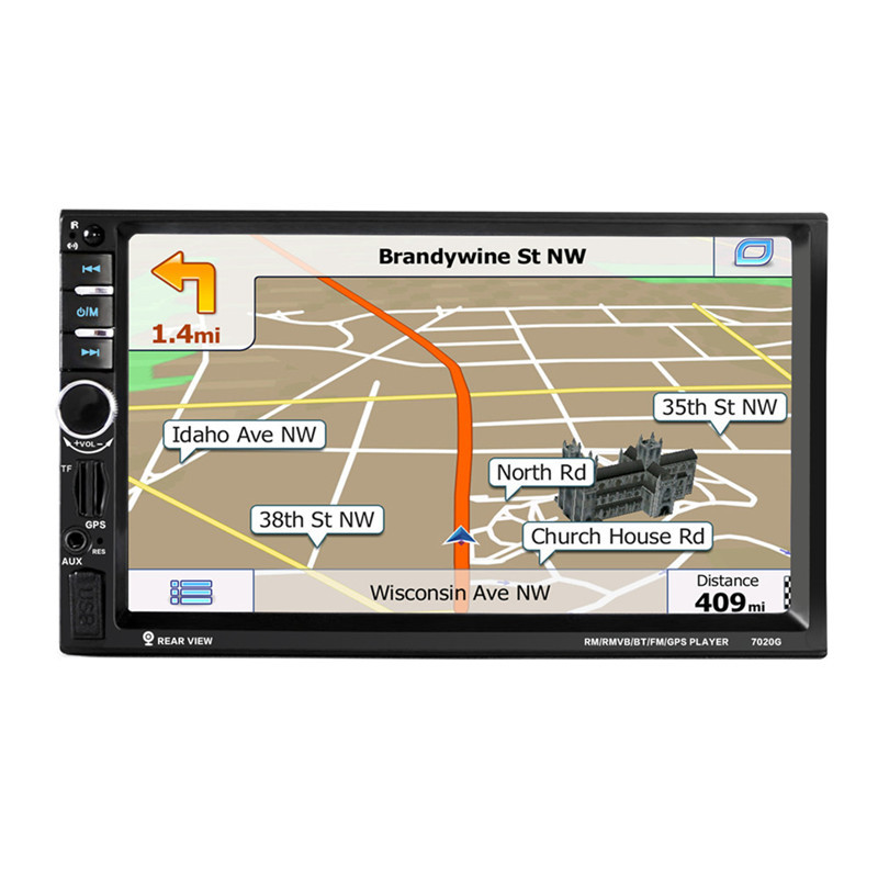 7020G 7 2 DIN 1024*600 Touch Screen Car Radio DVD MP5 Video Player+Rear Camera Bluetooth FM GPS Navigation with Remote Control av870b 12v car dvd radio rds mp5 player 7 inch with bluetooth 2 1 rds fm am 2 din car dvd mp5 radio player parking sensor