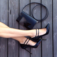 SHOFOO shoes,Elegant and stylish free shipping, black leather, 11 cm high heeled shoes, pointed toe pumps.SIZE:34 45