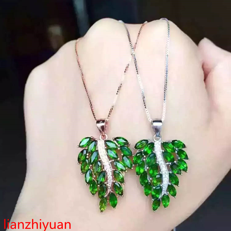 KJJEAXCMY boutique jewelry,S925 Sterling Silver Necklace, natural Diopsid leaves, womens Pendant Necklace, fashion sweater chaiKJJEAXCMY boutique jewelry,S925 Sterling Silver Necklace, natural Diopsid leaves, womens Pendant Necklace, fashion sweater chai