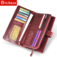 81e9e21c9 DICIHAYA Large Capacity Genuine Leather Card Holder Wallet RED Long Women  Wallet Zipper Clutch Casual Zipper