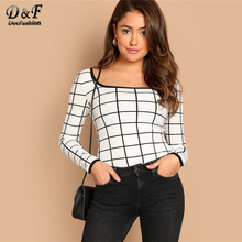 Dotfashion Plaid Scoop Neck Grid Tee Womens Long Sl