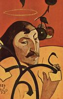 Paul Gauguin People Oil Painting Reproduction on Linen cavas,Self Portrait with Halo by paul gauguin, 100%handmade oil painting
