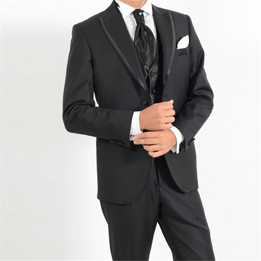 Black <font><b>men</b></font> <font><b>wedding</b></font> <font><b>suits</b></font> <font><b>2018</b></font> peaked lapel formal man dress <font><b>suit</b></font> elegant blazer for bridegroom party male tuxedos <font><b>ternos</b></font> 3 pieces image