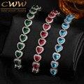 Dom Do Amor Luxuoso AAA Zircon Elements Vermelho Verde Azul Cristal Austríaco Pulseiras Moda Jóias Para As Mulheres CB166