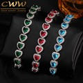 Gift Of Love Luxurious AAA Zircon Elements Red Green Blue Austrian Crystal Bracelets Fashion Jewelry For Women CB166