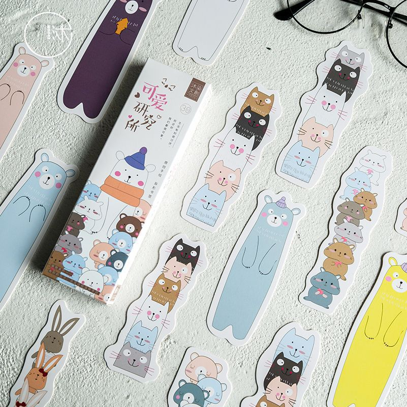 30 Pcs/pack Cat Bear Paper Bookmark Paper Cartoon Animals Bookmark Promotional Gift Stationery Film Bookmark