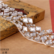 SINUAN Crystal Rhinestone Chain Tape Rhinestones Sew-On Crystals Stone For Crafts Yard Resin Beads For Clothes Stones For Craft