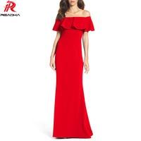 Reaqka Casual Women Slash Neck Floor Length Maxi Party Dresses Plus Size Robe Vestidos Long Dress