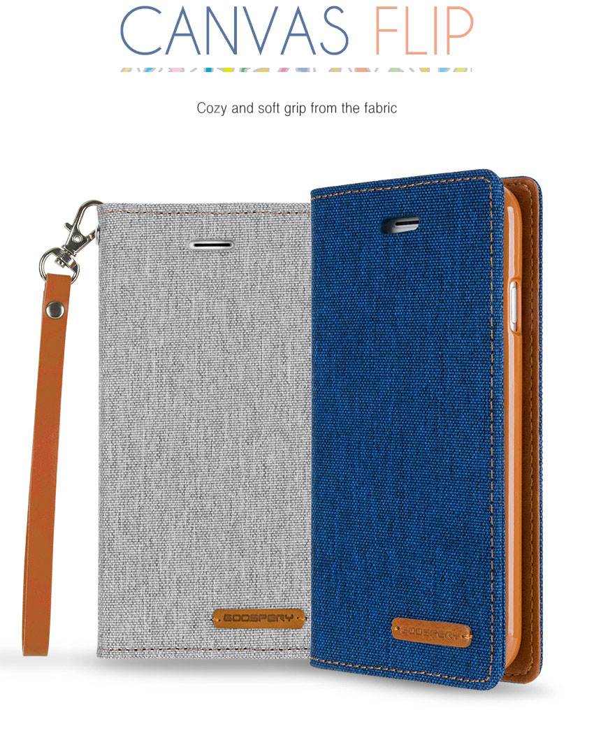Mercury Goospery Wallet Style Case Canvas Flip Cover For Samsung Iphone X Blue Moon Mint Galaxy Series Ip8 Detail 2