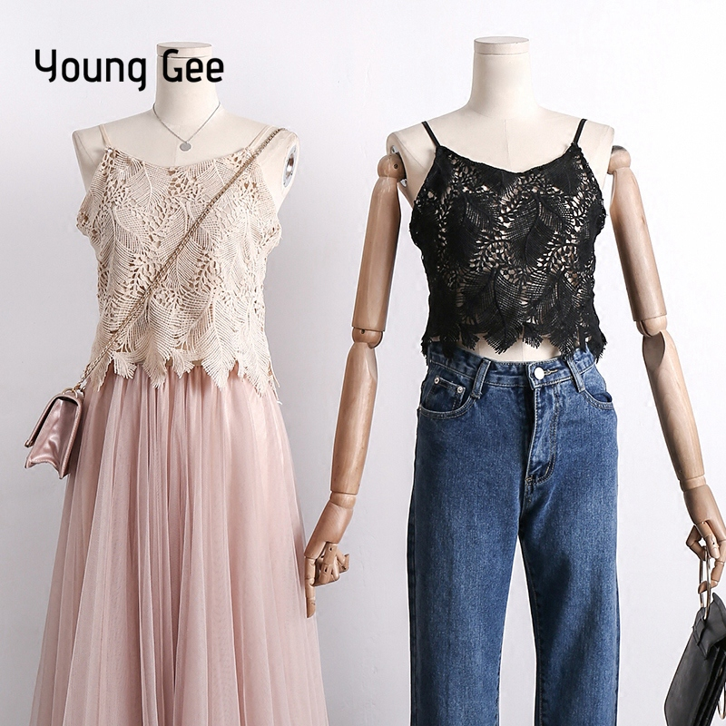 Young Gee 2018 Lace Crochet Leaves Top Camis Sexy Tank Tops Women Off Shoulder Camisole V-Neck Sleeveless Shirts Summer Cropped