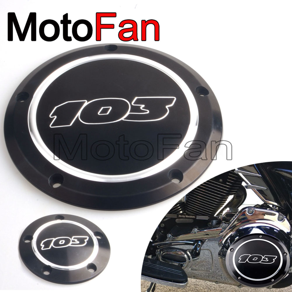 Custom Motorcycle 103 Derby Timing Covers Timer Cover Black for Harley Davidson Softail Night FXSTB Street Glide FLHX Dyna FLHRS 1set motorcycle derby cover timing timer covers cnc aluminum for harley davidson xlh xl 883 883l 1200c 1200l sportster 883n iron