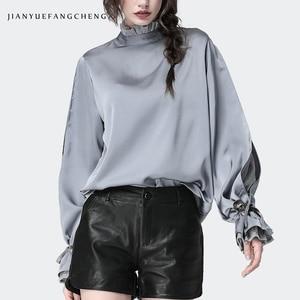 Image 4 - Satin Frauen Bluse Stehen Rüschen Kragen Split Spitze Hülse Lose Plus Größe Damen Tops Mode Neue 2019 Weibliche Tops Und blusen