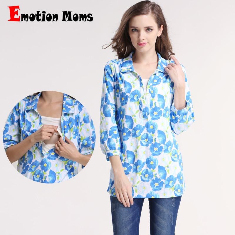 Emotion Moms Spring Vestiti di maternità Manica lunga Cime per l'allattamento al seno per donne incinte T-shirt maternità che allatta Canotte