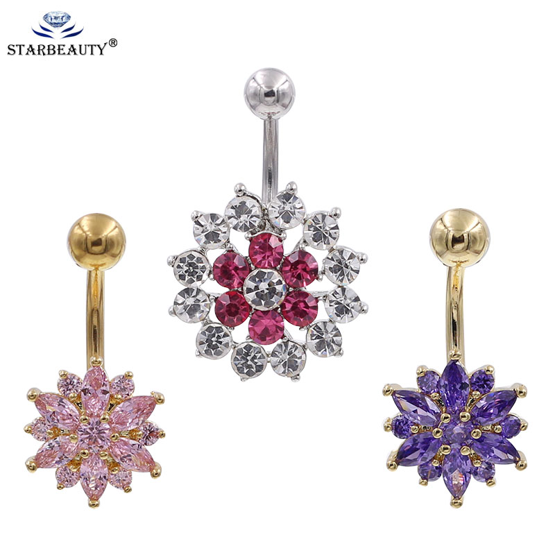 Glitter White Snowflake Belly Button Ring-14g-Winter Dangle-Navel Body Jewelry 9//16