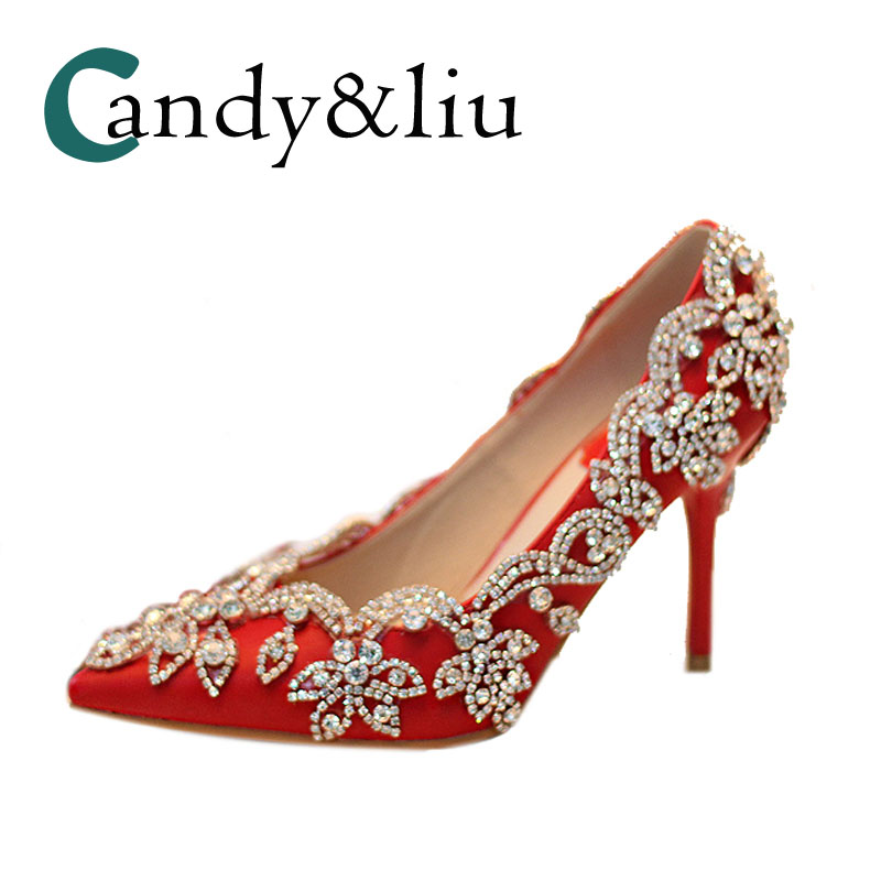 da1f530a2 women red wedding shoes crystal high heels pumps for bride pointed toe thin  heel elegent slip on shoes dress rhinestone girls