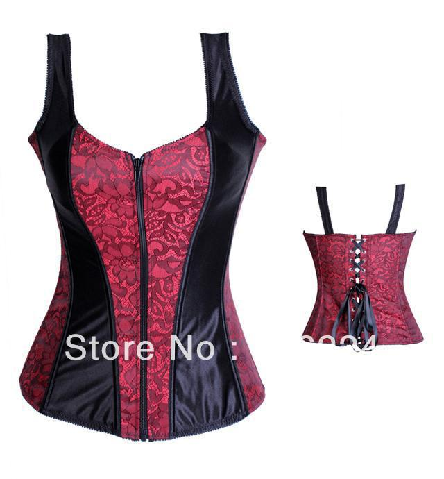 9ce7adcbd62 Floral Satin Zip Corset with Shoulder Straps Lace Up Sexy Women Halter  Midnight Embroidered And Satin Straps Zipper Bustier