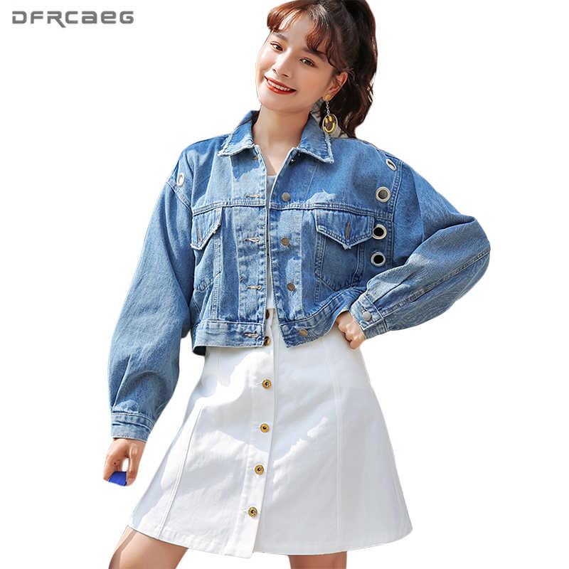 3aaa3550828 Casual Hollow Out Eyelet Denim Jacket Women Blue Black Hole Batwing Sleeve  Bomber Jeans Jackets Slim