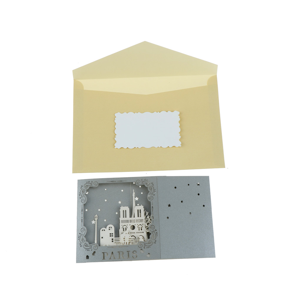 Famous City Night View 3D Pop up Handmade Paris Postcards Vintage Greeting Love Cards Scratch Paper