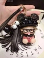 bling New Crystal Monchichi Cartoon Handbag Charm Keychain Red Real Leather tassel Car Key Ring bag Pendant Monchhichi bell gift