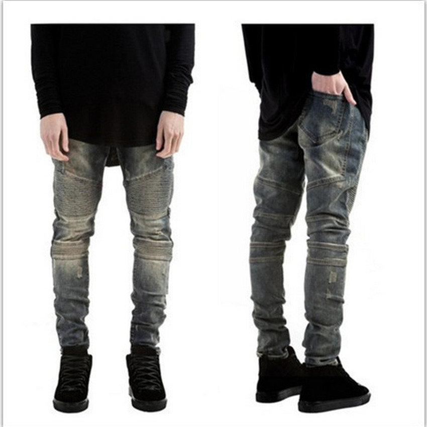 ФОТО 2017 Fashion trend design Men Ripped Biker skinny Jeans Jogger pants hiphop Distressed Moto Denim Washed Pleated Jean Pants
